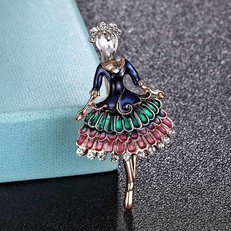 Zlxgirl Kuning Enamel Bentuk Gadis Penari Balet Bros Enamel Pin Syal Pesta Wanita Hadiah Pasangan Fashion Topi Perhiasan