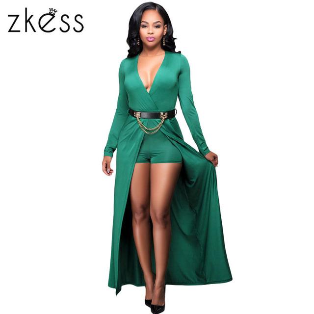 Zkess sexy profundo decote em v verde caixilhos elegante estilo praia curto playsuit jumpsuit romper verão mulheres sexy macacão lc64228