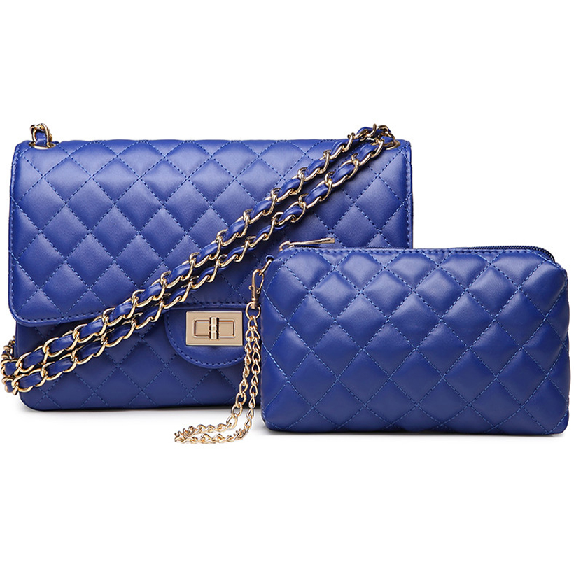2 bag Set fashion Leather flap bag Women crossbody shoulder Bags Female Purse clutch diamond office Lady blue hand caviar bag denim vintage quilted across bag women s blue jean plaid stylish brand fashion flap chain crossbody shoulder bag purse handbag