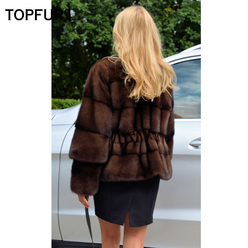TOPFUR 2018 New Style Mink Fur Coats Women Detachable Sleeves Black Choose Fur Coat Genuine Leather Fur Slim Short Jackets