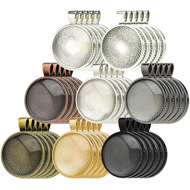 JUYA 10 adet/grup 25mm Iç Boyutu 8 Renk Kaplama Klasik Desen Fit 25mm Cam Cabochon Taban Ayarı DIY takı Yapımı Bulguları