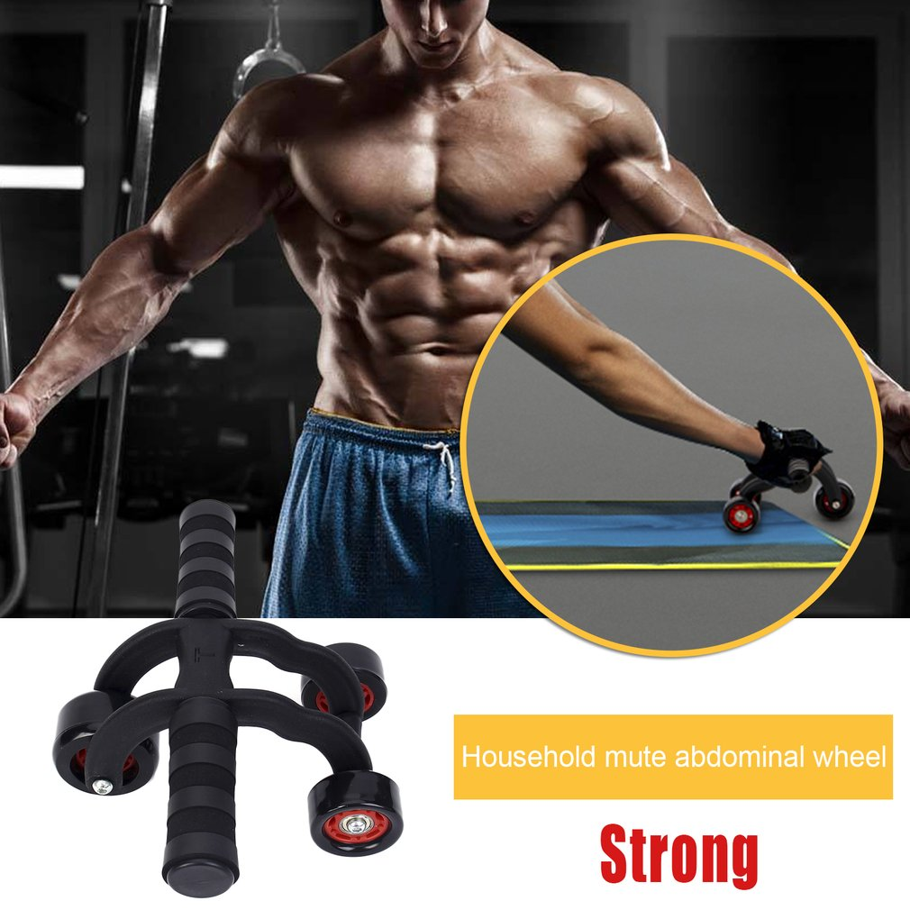 New Three-wheeled Body Abdominal Muscle Exerciser Mute Rolling Wheel Household Fitness Equipment With EVA Pad for Men & Women