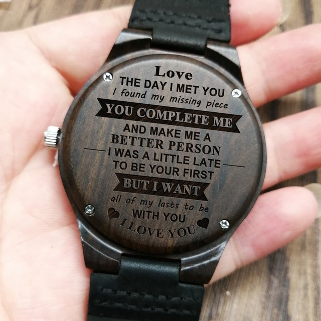 THE DAY I MET YOU - FOR BOYFRIEND ENGRAVED WOODEN WATCH
