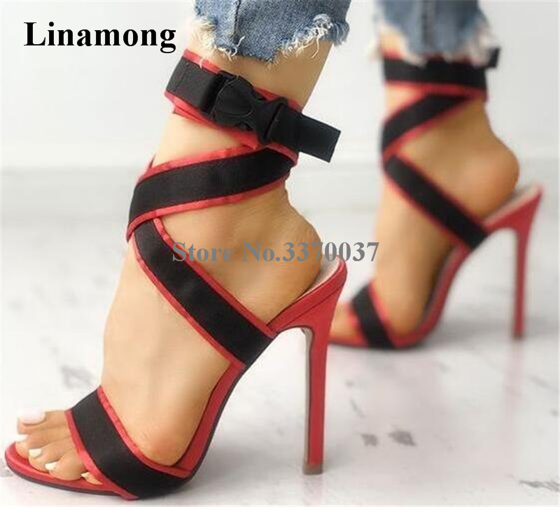 Summer New Fashion Women Open Toe Suede Leather Patchwork Straps Thin Heel Sandals Ankle Strap High Heel Sandals Dress Shoes