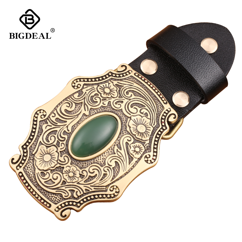 2018 Flower Embossed Solid Brass Belt Buckle Luxury Cowboy Buckles Fit 4cm Wide Belt Man,women Clothes Pants Accessories