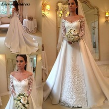 2019 Lace Overskirt Wedding Dresses with Long Sleeves Off Shoulder Appliques A Line Sweep Train Bridal