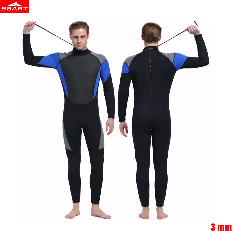 Sbart 3mm Men neoprene wetsuit color stitching Zipper Surf Black Diving Equipment Jellyfish clothing long sleeved piece fitted