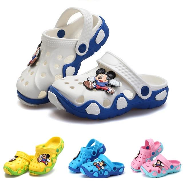 2019 קיץ כפכפים Cartoon מיני נעלי בני בנות נעלי פעוט כפכפים חוף סנדלי מערכות Mule קבקבי גומי נעליים
