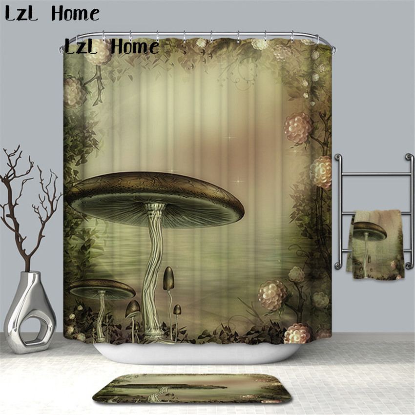 LzL Home Multiple Size Pink Fancy World Shower Curtain Fabric Waterproof Home Bathroom C ...
