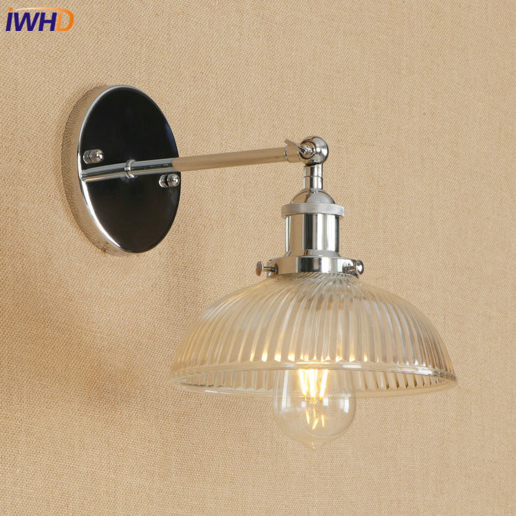 IWHD Loft Edison LED Wall Lamp Adjustable Vintage Wandlamp Glass Lampshade Bathroom Ligh ...