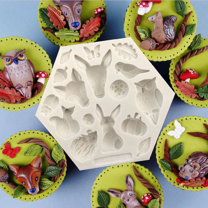 1PC Animals Leaves Fondant Silicone Mold Pastry Cooking Tools Chocolate Mold Cake Decorating Tools L083