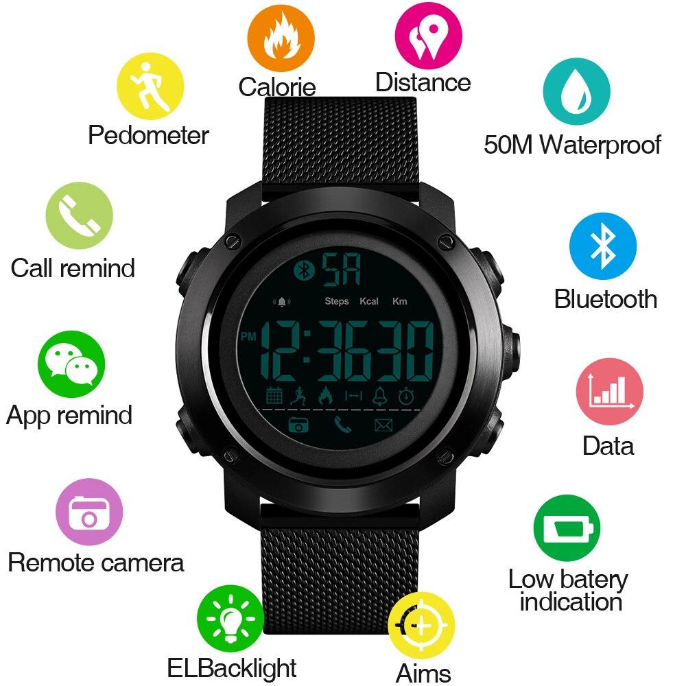 SKMEI Sport Montre Smart Watch Hommes Calories Podomètre Bluetooth Montres Milanese Bracelet Étanche Smartwatch pour ios android téléphone 1462