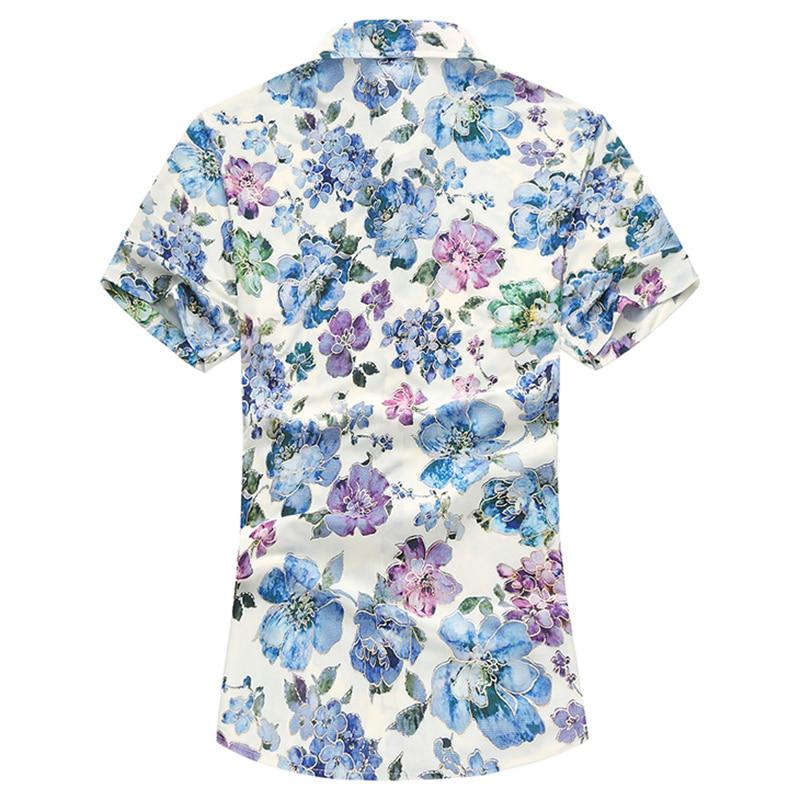 2018 New Summer Mens Shirt Slim Fit Men Short Sleeve Fashion Print Shirts Mens Clothing Trend Casual Mens Flower Shirts M-7XL
