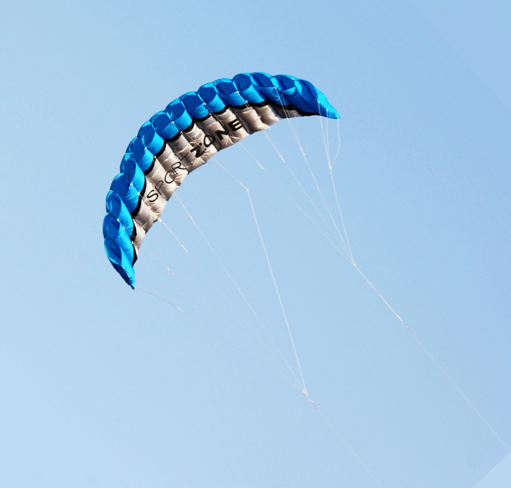 Alta calidad 2.5 m Blue Dual Line Parafoil Kite WithFlying - Deportes y aire libre - foto 3