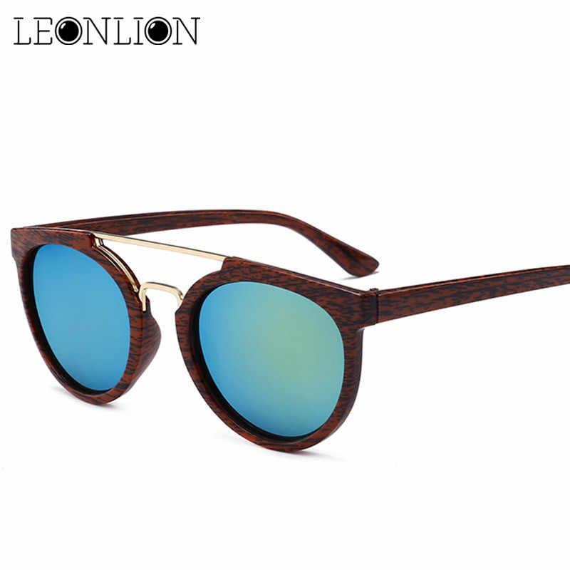 bf0d5f1523f LeonLion 2019 Wood Grain Sunglasses Men Brand Designer Classic Metal  Vintage Sun Glasses For Women Outdoor