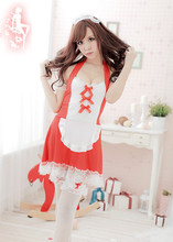 Adogirl Sexy Japanese Maid Lolita Costume dress + head wear+T underwear +wristband*2 +necklace Women Cosplay