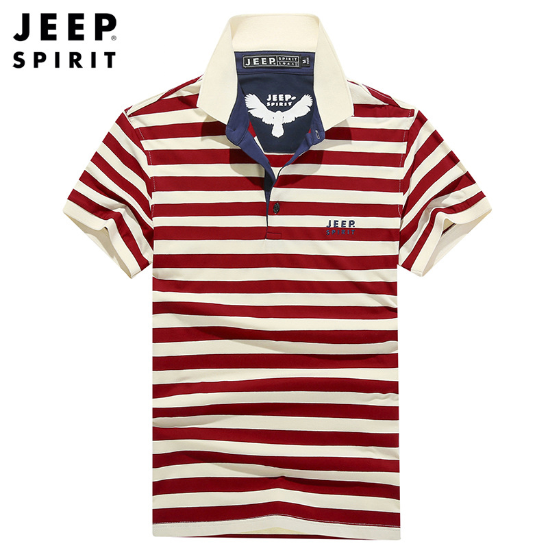 JEEP SPIRIT   Polo   Shirt Men Summer   Polo   Shirts Men High-grade   Polos   para hombre Breathable Striped Cotton camisas chemise M-3XL