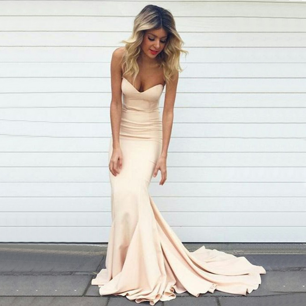 Simple Mermaid Long   Bridesmaid     Dresses   Sweetheart Sleeveless Light Champagne Elastic Satin Cheap Wedding Party Gowns 2019 New