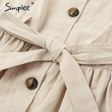 Simplee Vintage botón mujeres vestido camisa cuello en V manga corta algodón Lino corto vestidos de verano Casual coreano vestidos 2019 festa