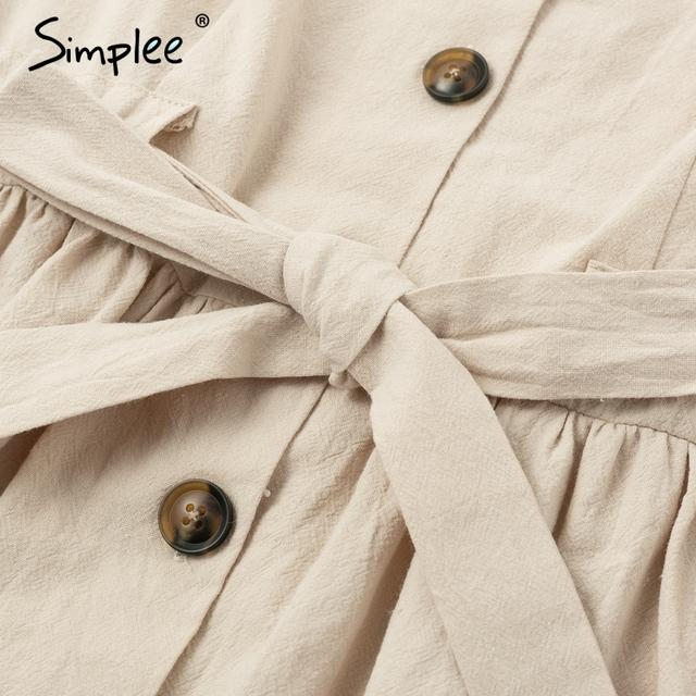 women dress shirt V neck short sleeve cotton linen short summer dress