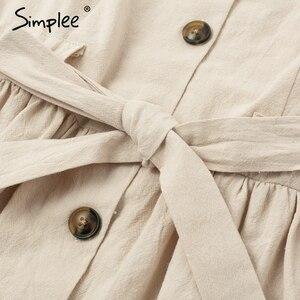Image 5 - Simplee bottoni Vintage camicia di vestito delle donne con scollo a V manica corta in cotone di lino breve estate abiti da ufficio Casual coreano abiti