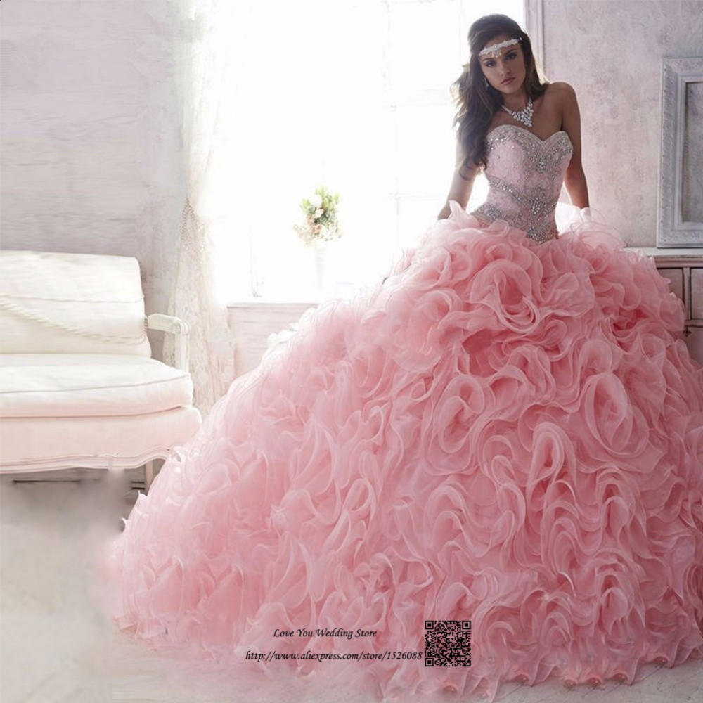 Princess Organza Ruffle Cheap Quinceanera Gowns Sweet 16 Ball Gown Quinceanera Dresses 2017 Pink Lace Rhinestones