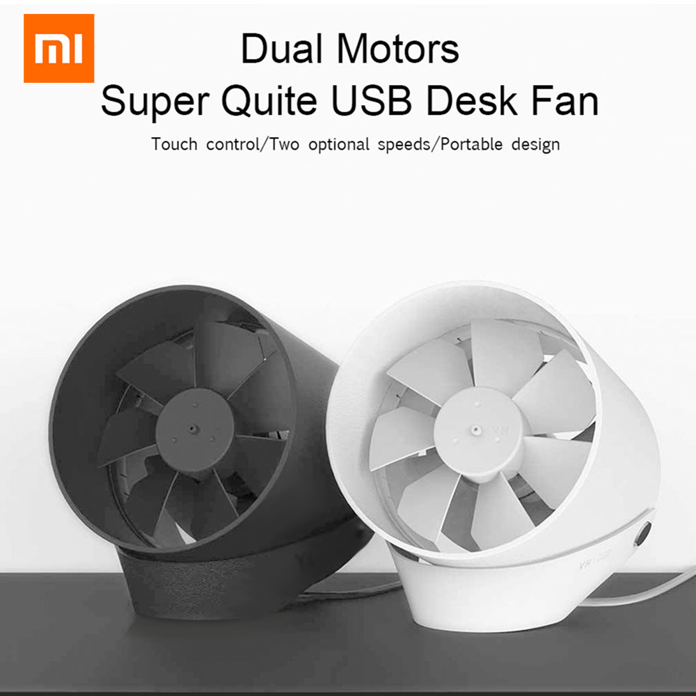 Original XiaoMi MIJIA VH Double Leaf Silent Fan Low Noise Touch Switch And Second Gear Adjustable Potable Travelling Office Fan xiaomi vh fan stylish double blade mute cycle desktop silent fan low noise touch sensor switch and second gear adjustable