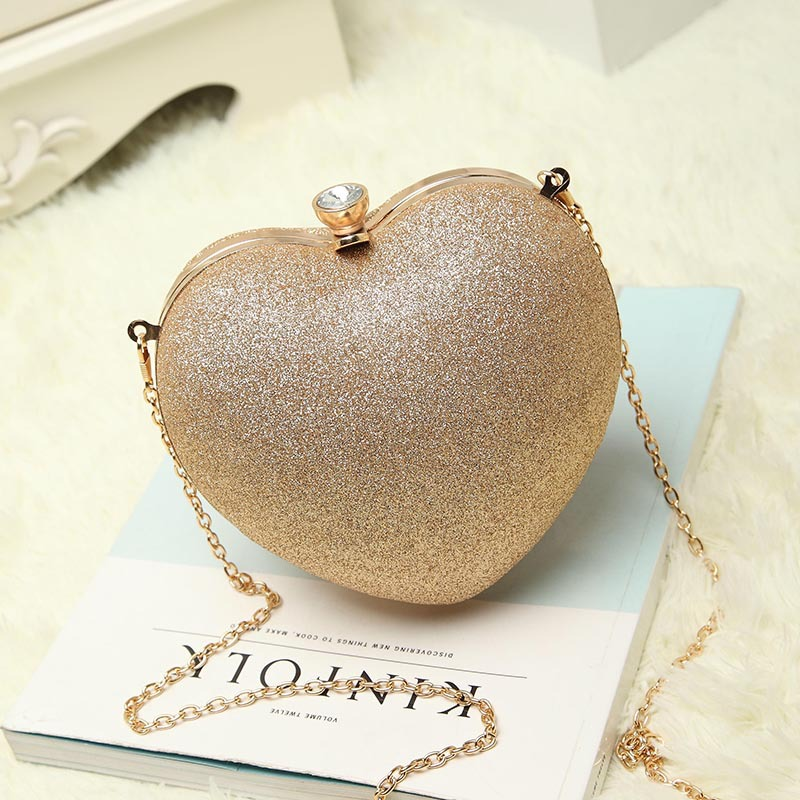 2017 heart rhinestone clutch dinner day clutch luxury banquet one shoulder cross-body bag women's handbag chain