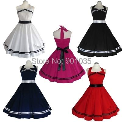 free shipping ladies font b tartan b font pu collar 50 s fashion dress UK8 24