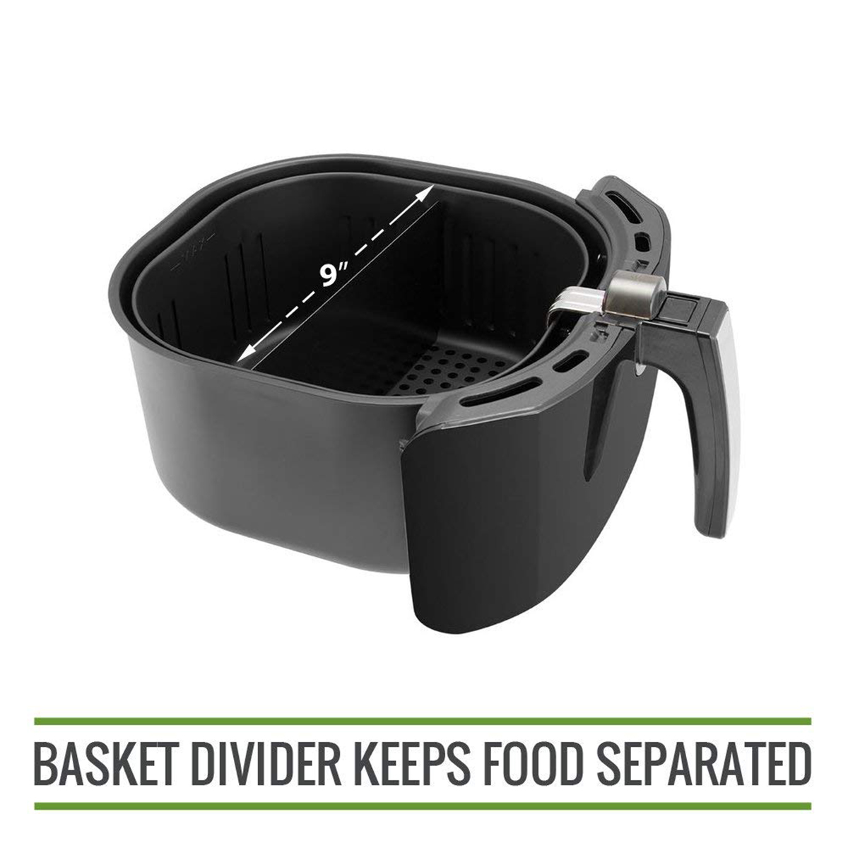 Best Sell XL Air Fryer Cooking Divider  Compatible with 9inch Air Fryer Baskets. Air Fryer Basket Divider Keeps Food Separated|Electric Deep Fryer Parts| |  - title=