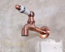 Grifo de fregona de baño montado en la pared de cobre rojo antiguo, grifo frío para inodoro tav308