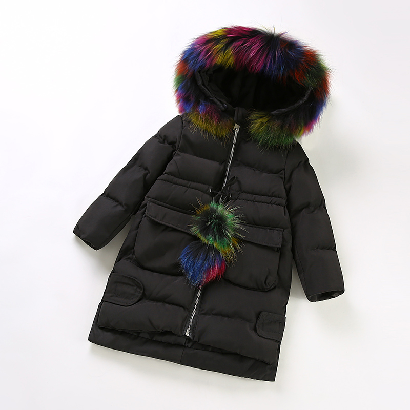 Girls Cotton Padded Jacket Long Winter Jacket  Winter Eiderdown Cotton Color Collars Children Cotton Padded Clothes 3-8T 2017 winter children cotton padded parkas clothes baby girls