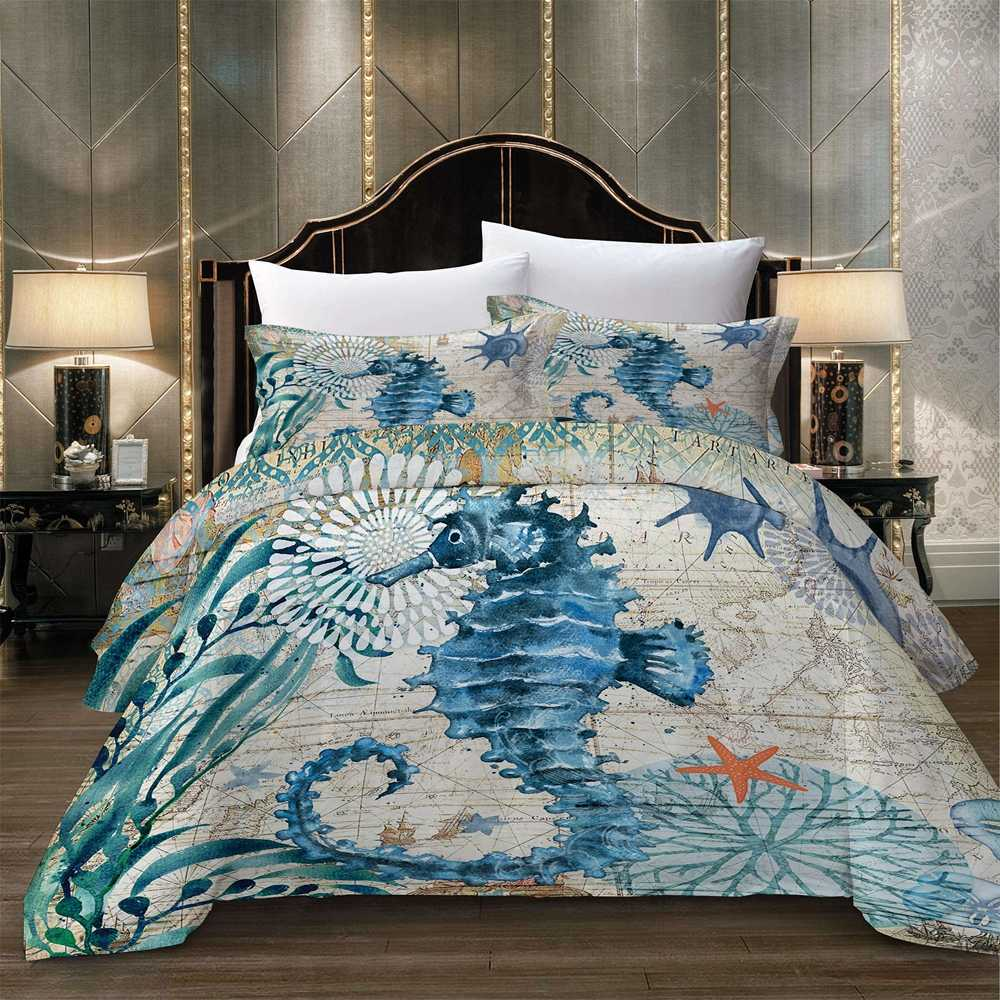 Cartoon Sea horse pattern printed bed linens set Duvet Cover Set Quilt Cover Bedding Set with pillowcase blue white Queen King twin single double sizes Home textile products new 3pc