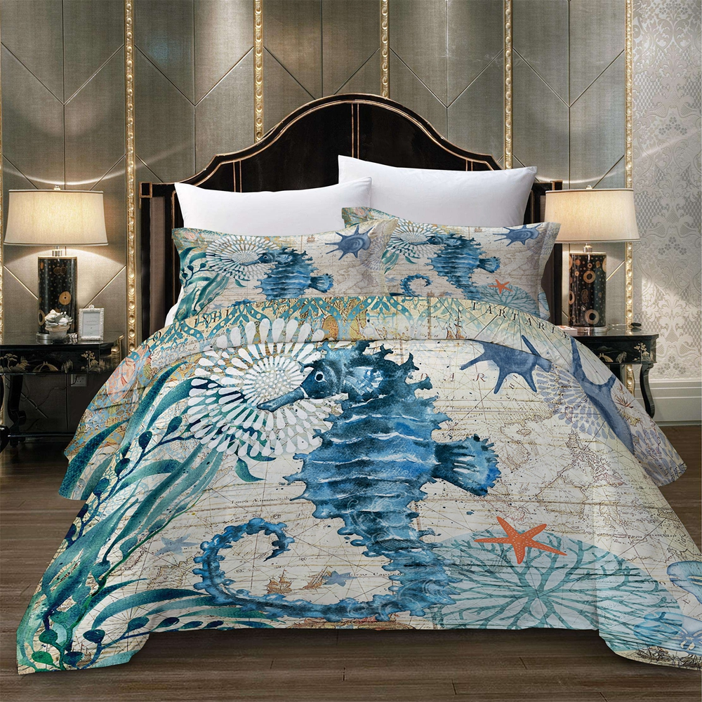 Sea horse cartoon Duvet Cover Set Quilt Cover Bedding Set with pillowcase green white Queen King Twin Full bed linen set new 3pc