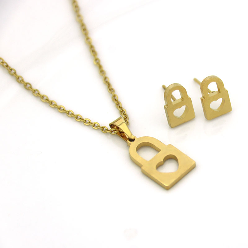 Jewelry-Sets Necklace Earrings Stainless-Steel Gold Women 1set Love And Lock Key