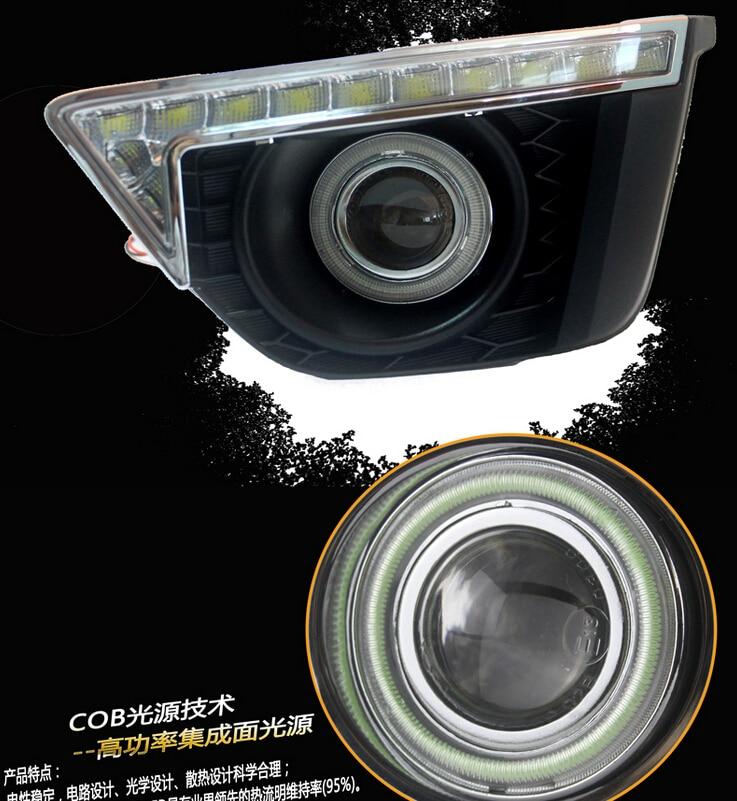 белый СИД DRL + cob ангел глаз (6 цветов) + H3 противотуманные лампы + объектив проектора + желтый сигнал поворота для Honda джаз Fit 2014
