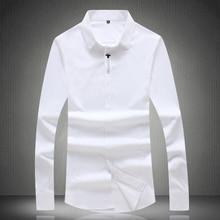 Top Quality White Men Dress Shirts 2019 New Fashion Long Sleeve Slim Fit Camisa Masculina Solid Black M-XXXXL #65655