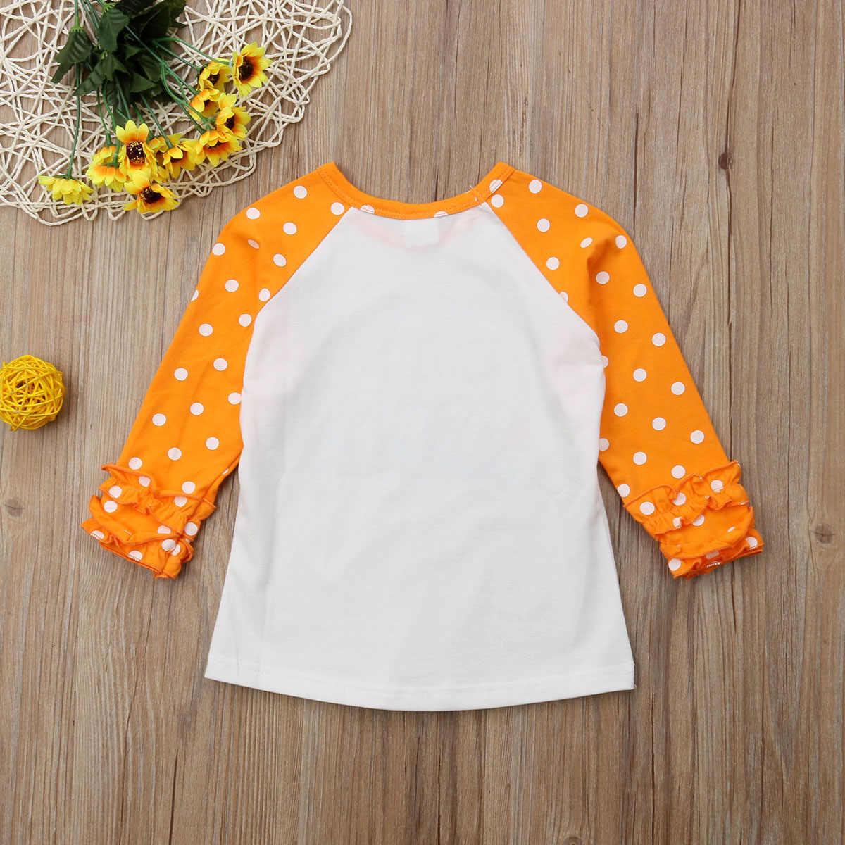 Новая детская хлопковая футболка с длинными рукавами и рисунком единорога, тыквы, машины для маленьких девочек, одежда