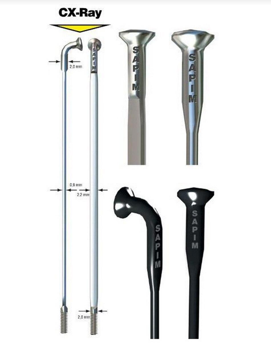 Sapim CX Ray Spokes BLACK Bladed Aero Spokes 230 310mm with Aluminium Nipples one pack 12pcs