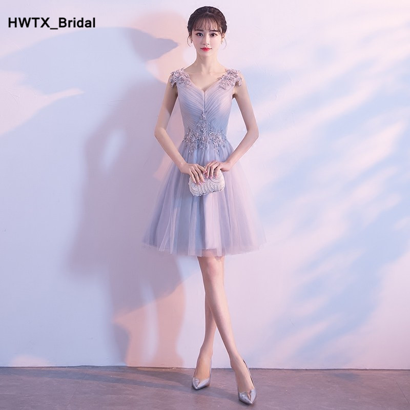 2018 Sexy Short   Bridesmaid     Dress   with Lace Tulle V-Neck Wedding Party   Dress   2018 Cheap Plus Size Women   Bridesmaid     Dresses