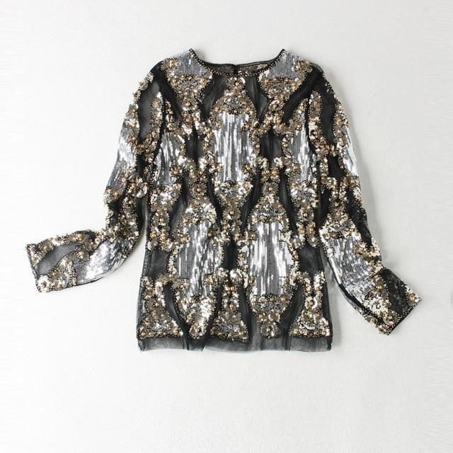 2017 г. осенние женские Высокое качество модный топ High Street черный/бежевый сетки выдалбливают блестками вышивки из бисера кружевной блестящие Топы