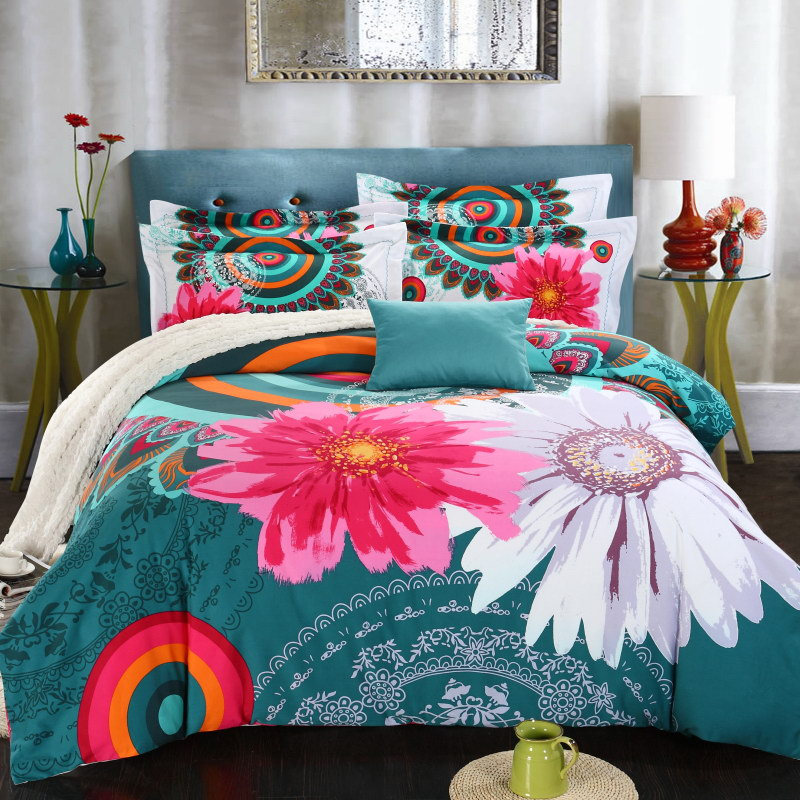 Boho beddings and bed sets Colorful Peacock Feather Animal Prints bed linen winter bedding set king size kids bedding set