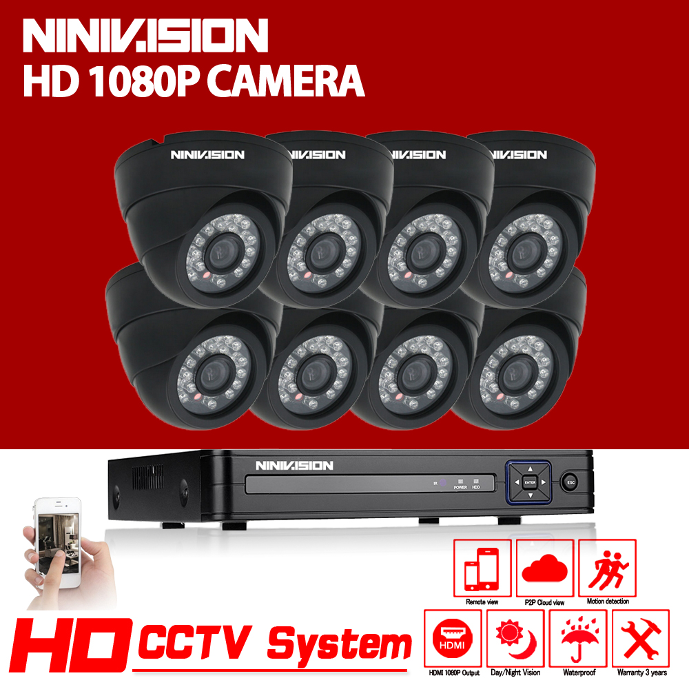 HD 1080P Dome CCTV security system 8CH 1080P AHD-NH DVR kit 8*2mp indoor video surveillance security camera kit Wifi View вентилятор titan tfd 9225gt12z