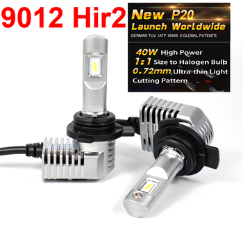 1 Set Super Bright MINI SIZE 9012 Hir2 CSP CHIPS P20 Car LED Headlight All-in-one Turbo Fan 1:1 Front Bulb Lamp 45W 5200LM 6000K