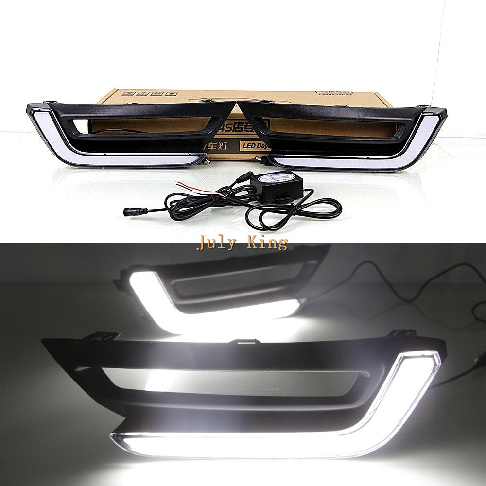 July King LED Light Guide Daytime Running Lights LED DRL Case For Honda CRV CR-V 2017+ High DRL Version july king led daytime running lights drl case for honda crv cr v 2015 2016 led front bumper drl 1 1 replacement