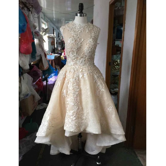 SS255 Real Photo Champagne High Low Organza Lace Appliques Wedding Dress  High Neck Short Bridal Dresses Gowns vestido de noiva ea46f2b5cf4c