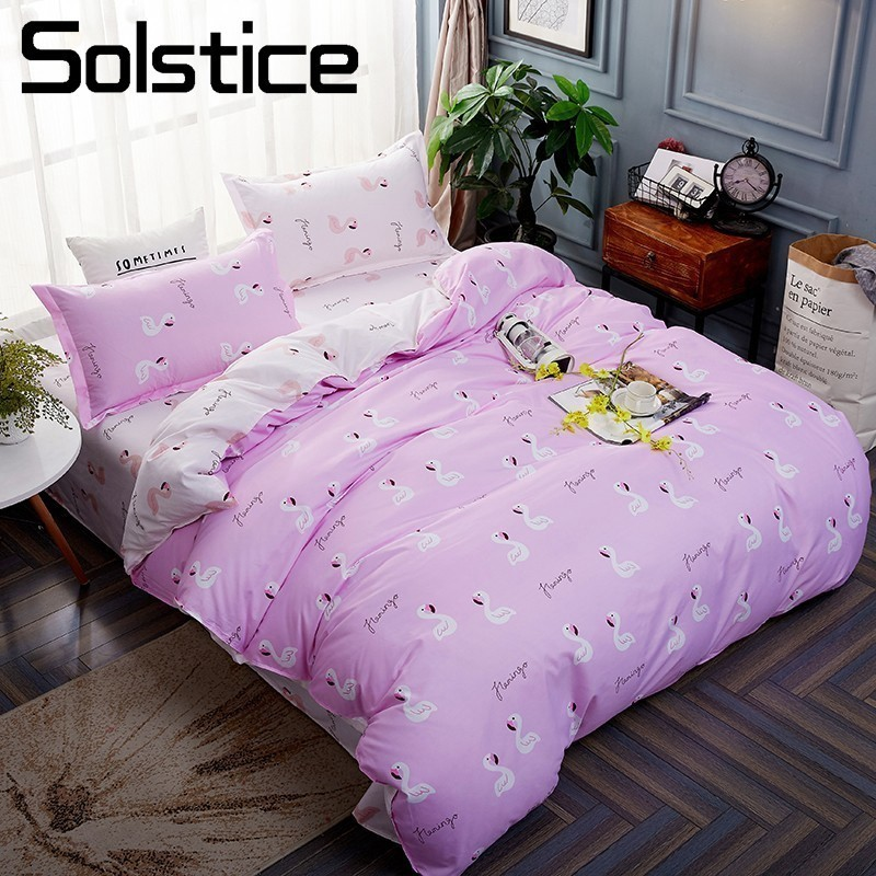 Solstice Home Textile Cartoon Flamingo Girl Bedding Sets Duvet Cover Pillowcase Bed Sheet 3/4Pcs Kid Teen Bed Linen King Twin