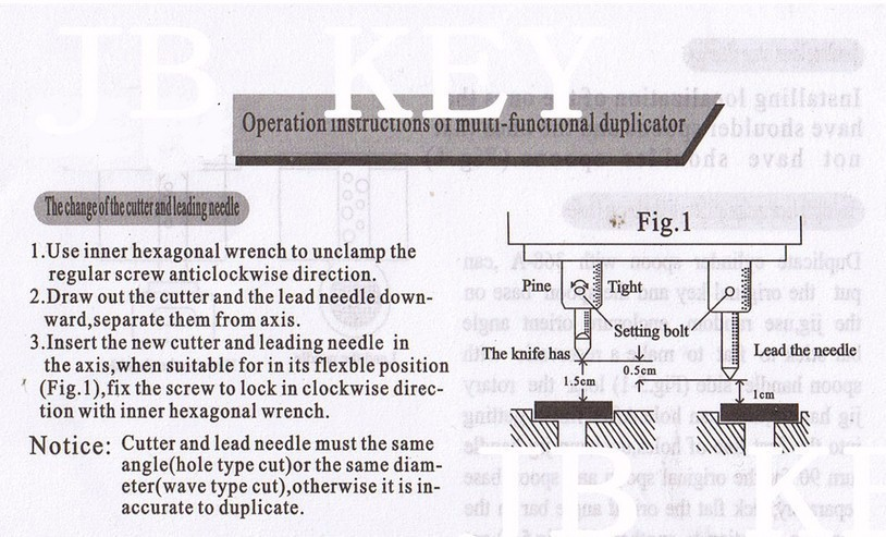 368A Key Cutting Duplicated Machine Instruction 1