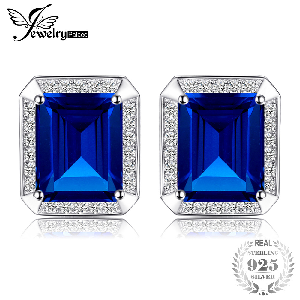 все цены на Jewelrypalace Blue Solid 925 Sterling Silver 8.6ct Sapphire Man Cuff links Fashion Jewelry Gift For Male Fine Cuff Links