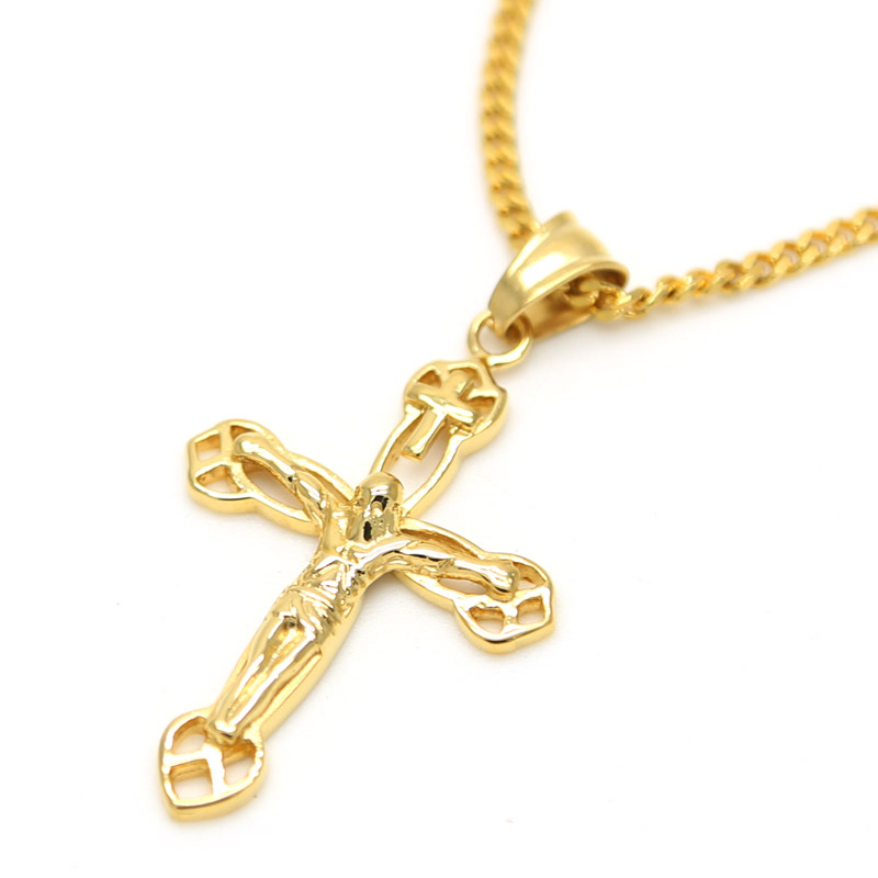 24k gold plated jesus cross pendants high quality fashion hiphop 24k gold plated jesus cross pendants high quality fashion hiphop franco long necklaces gold chain for men bijouterie 6 design in chain necklaces from aloadofball Images